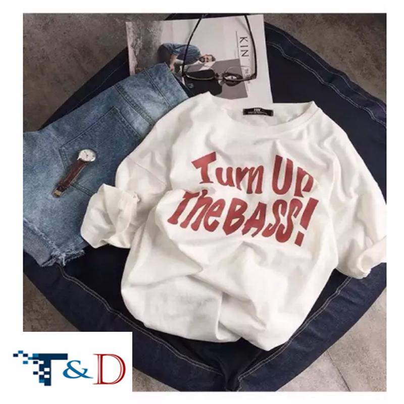 ÁO THUN NỮ TURN UP THE BASS TRẮNG D731
