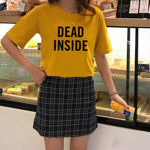 ÁO THUN NỮ DEAD INSIDE VÀNG D1036
