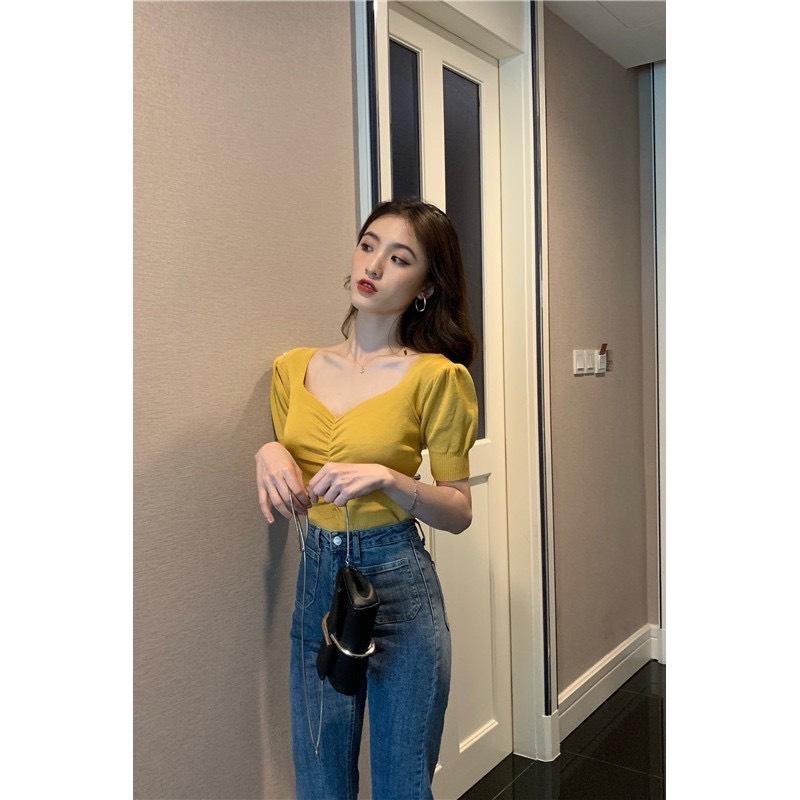 Áo kiểu nữ dệt kim sang chảnh màu vàng K178