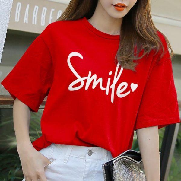 ÁO THUN NỮ SMILE ĐỎ D1010