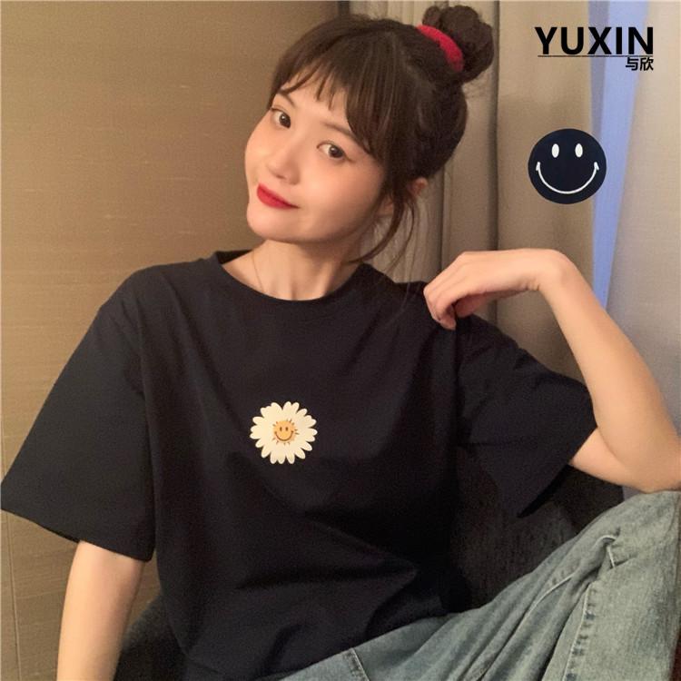 Áo Thun Nữ In Hoa Mặt Cười Nhỏ Thời Trang ĐEN D1257