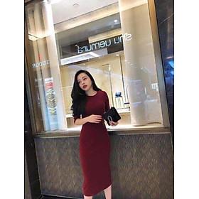 Váy Body Len Tăm Tay Lỡ ĐỎ ĐÔ T67