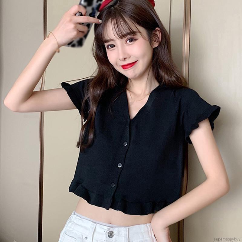 Áo Kiểu Croptop Nữ Bèo Nhún Phối Nút Thời Trang ĐEN K260