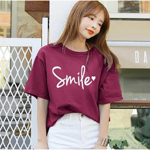 ÁO THUN NỮ SMILE ĐỎ DÔ D1014