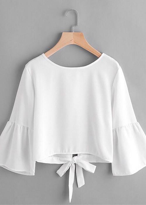 Áo kiểu nữ thắt nơ tay bèo màu trắng K110