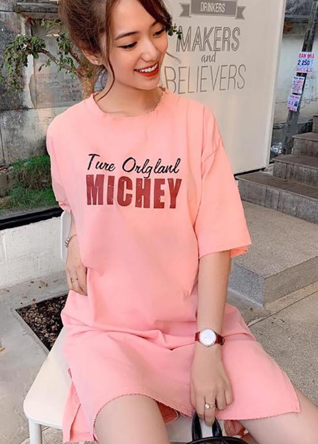 Váy suông nữ xẻ hông chuột Michey HỒNG T64