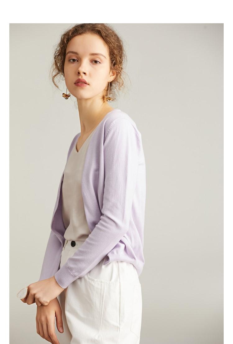 Áo len nữ form ngắn Tím N19