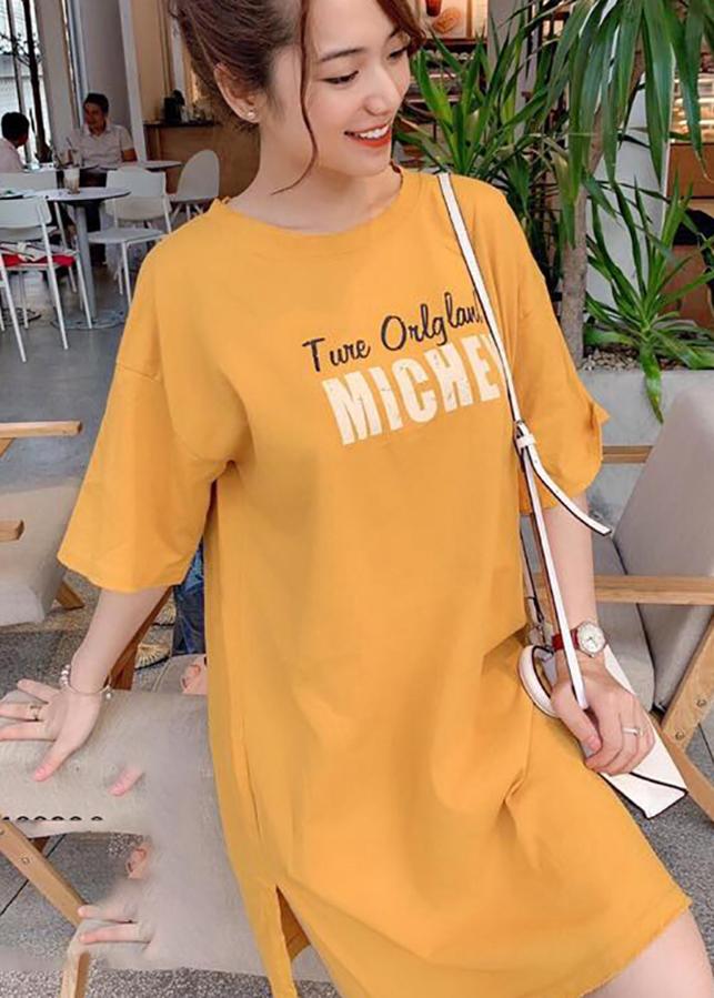 Váy suông nữ xẻ hông chuột Michey VÀNG T63