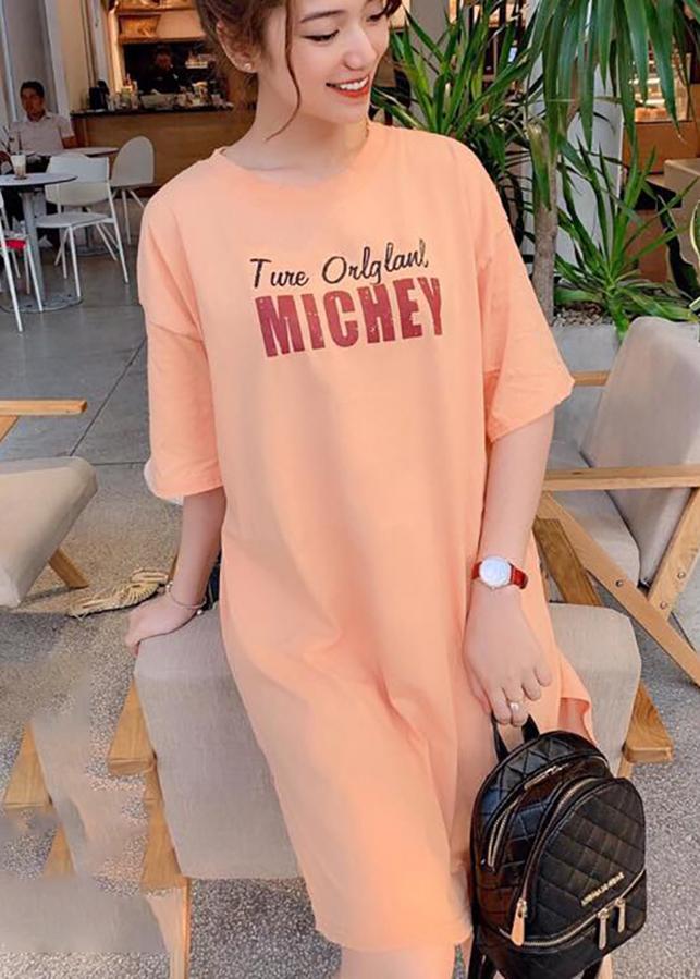 Váy suông nữ xẻ hông chuột Michey CAM NHẠT T65