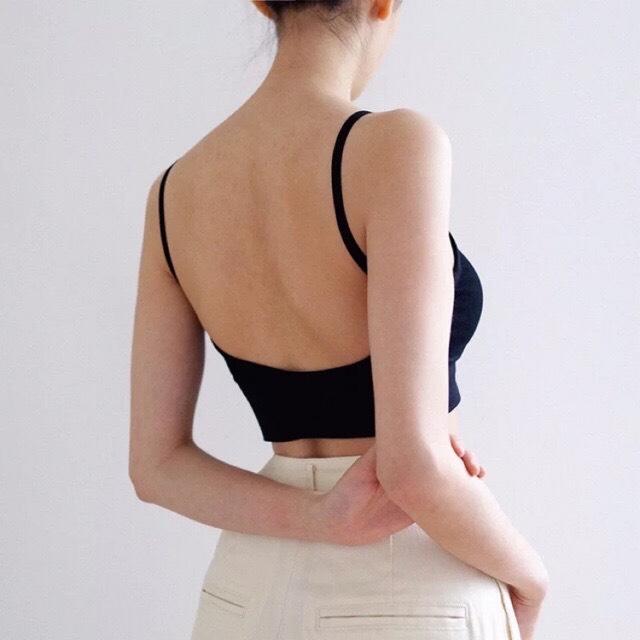 Áo bra dệt hở lưng ĐEN P04