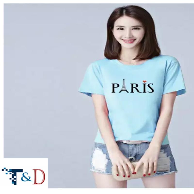 ÁO THUN NỮ PARIS MÀU XANH BIỂN D698