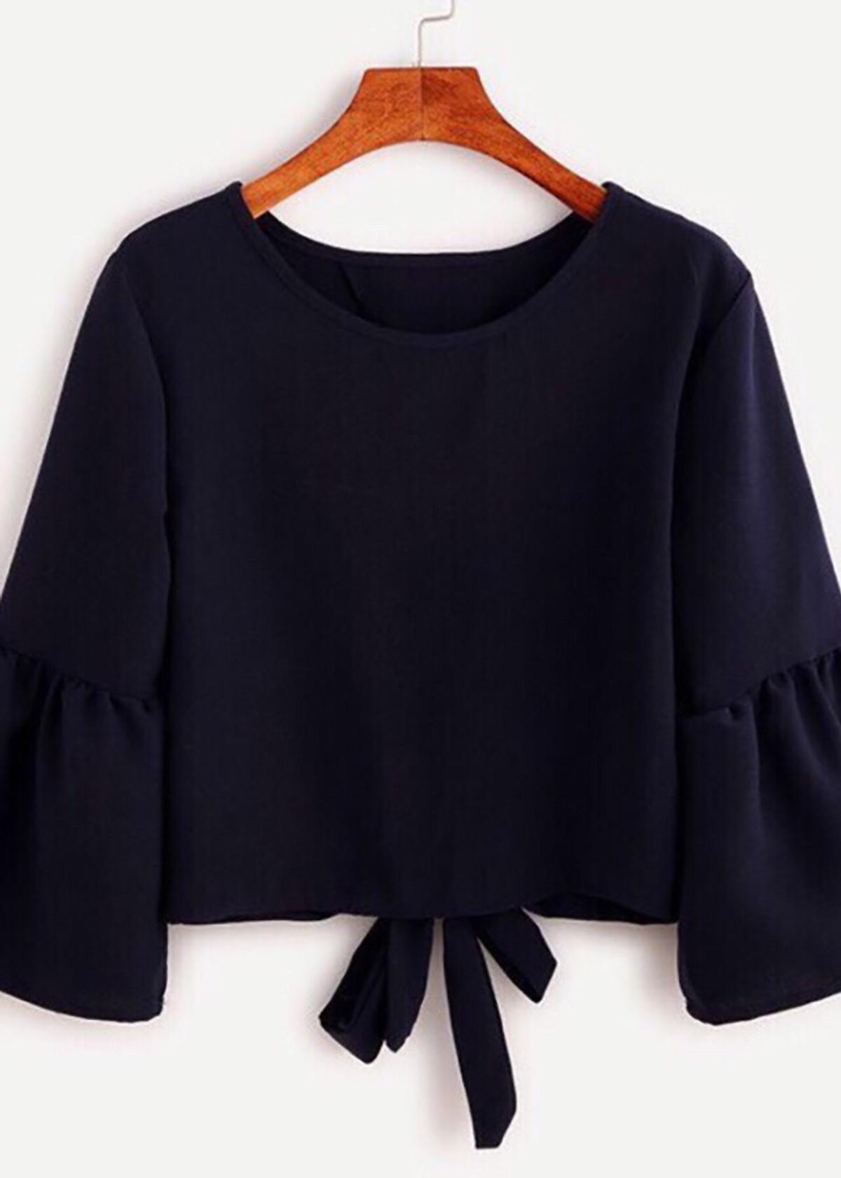 Áo kiểu nữ thắt nơ tay bèo màu đen K109