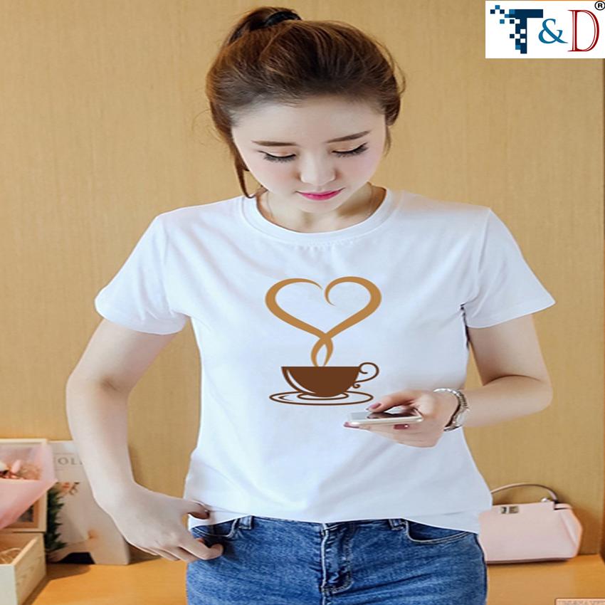 ÁO THUN NỮ LY COFFEE TRẮNG D596
