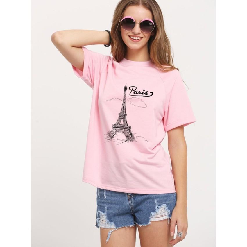 ÁO THUN NỮ PARIS MÂY HỒNG D639