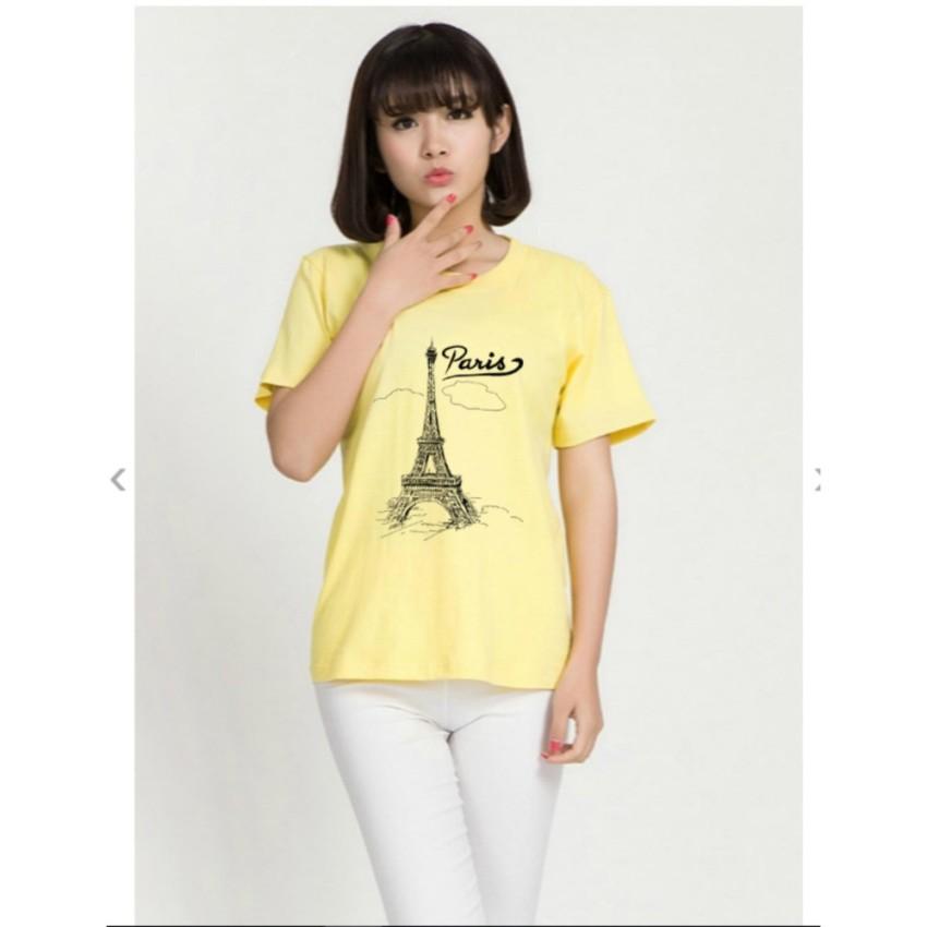 ÁO THUN NỮ PARIS MÂY VÀNG NHẠT D641