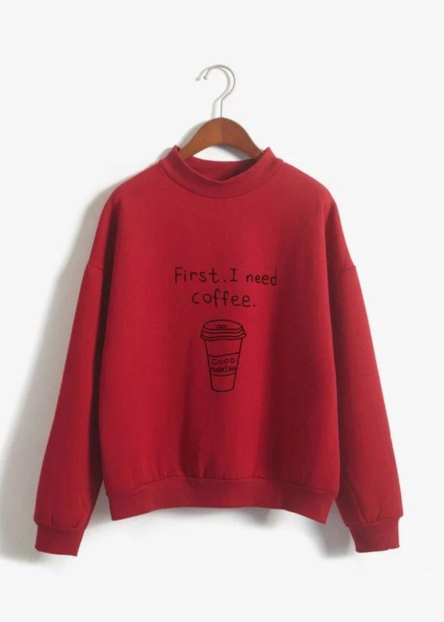 Áo Thun Nữ Sweater Coffee ĐỎ D439