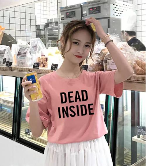 ÁO THUN NỮ DEAD INSIDE HỒNG D1035
