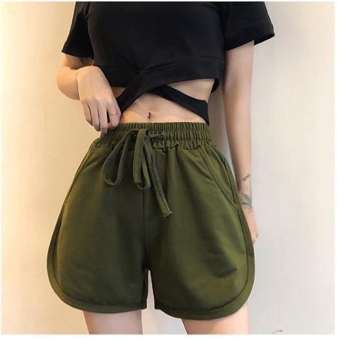 Quần short cotton nữ 4 túi thời trang XANH RÊU S80