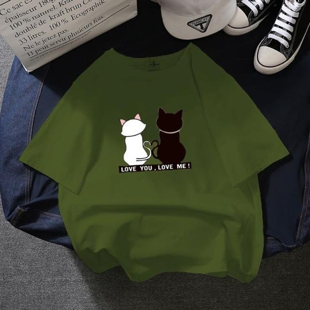 Áo Thun Tay Lỡ Mèo Cute Cực Xinh Form Rộng Dưới 85kg Mặc Đẹp XANH RÊU D1092