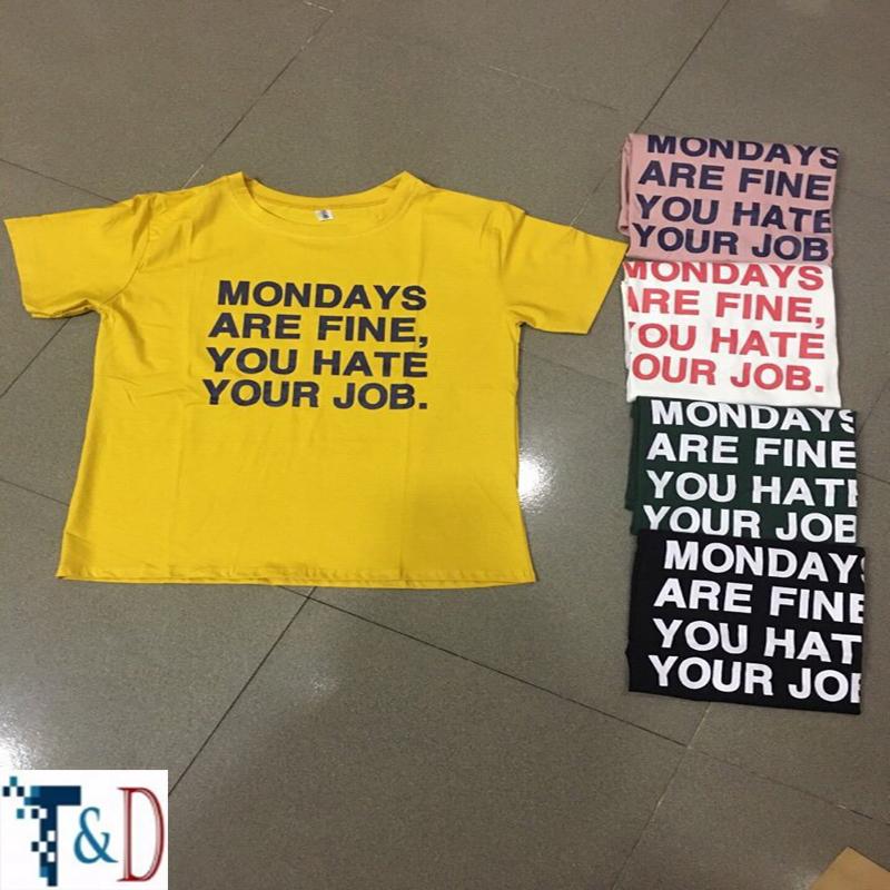 ÁO THUN NỮ MONDAY TRẮNG D824