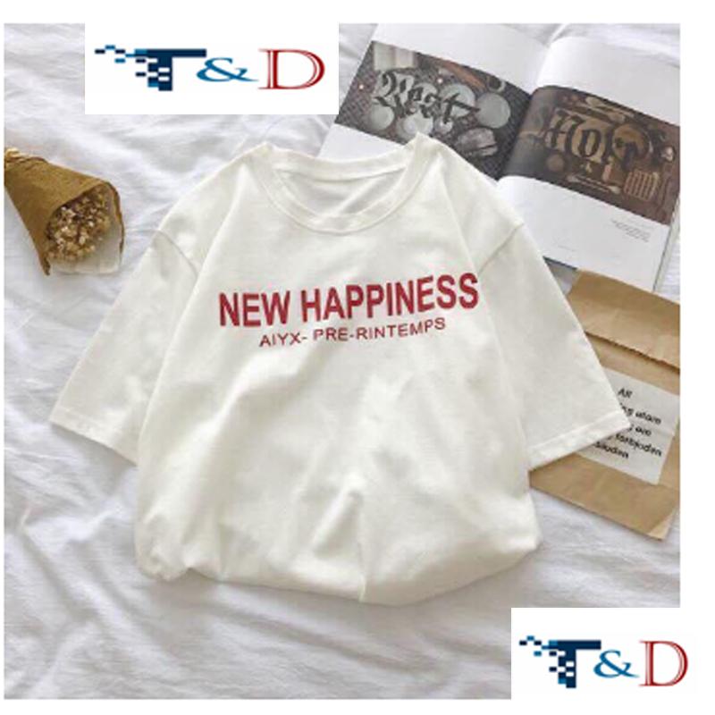ÁO THUN NỮ HAPPINESS TRẮNG D746