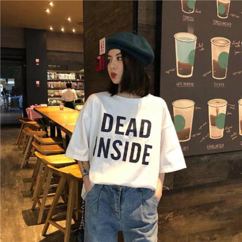 ÁO THUN NỮ DEAD INSIDE TRẮNG D1034