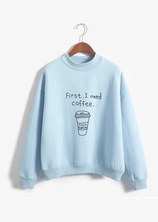 Áo Thun Nữ Sweater Coffee Xanh D425