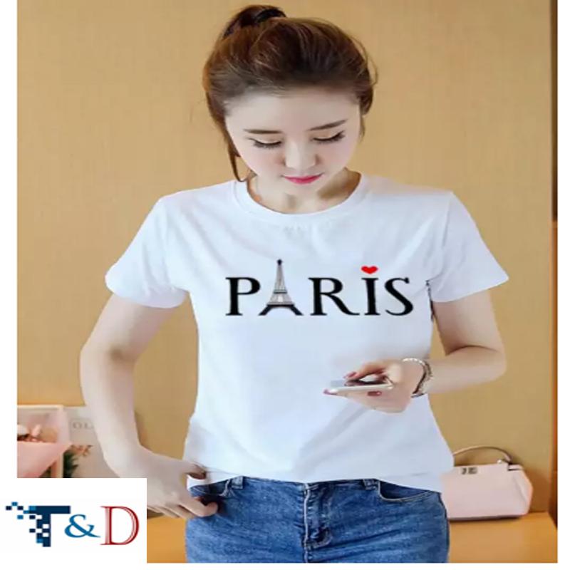 ÁO THUN NỮ PARIS TRẮNG D695