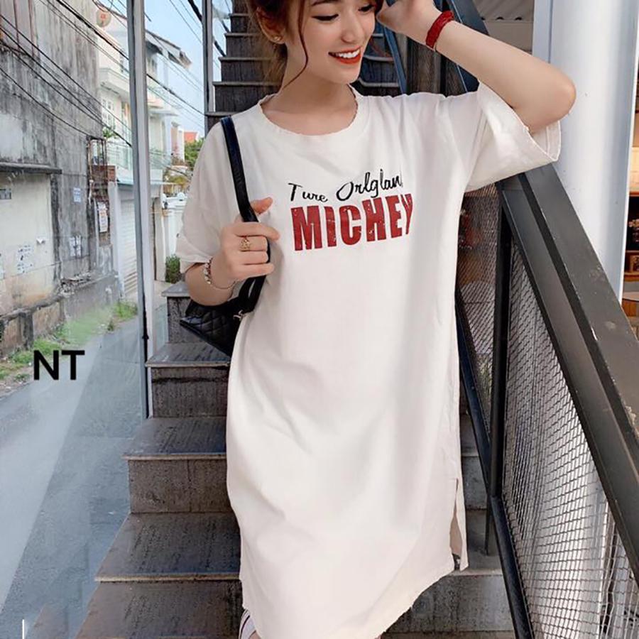 Váy suông nữ xẻ hông chuột Michey TRẮNG T62