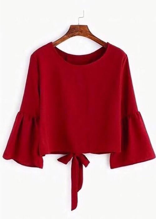 Áo kiểu nữ thắt nơ tay bèo màu đỏ K108