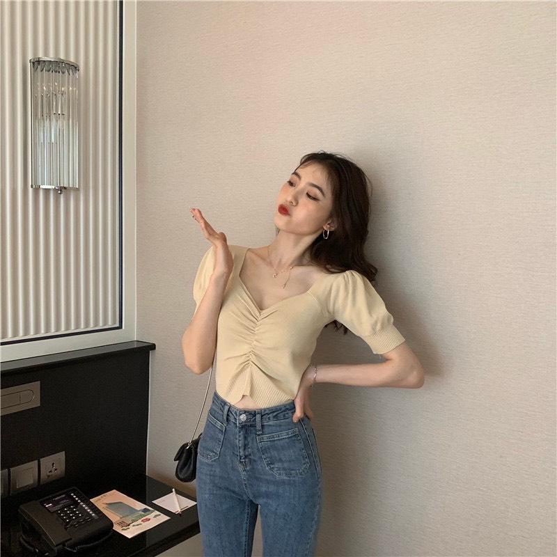 Áo kiểu nữ dệt kim sang chảnh màu da K176