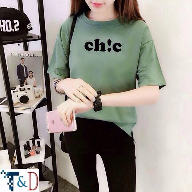 ÁO THUN NỮ TAY LỠ CHIC XANH ĐẬU D763