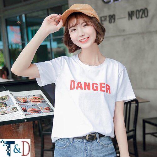 ÁO THUN NỮ DANGER TRẮNG D772