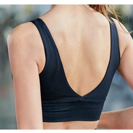 Áo bra tập gym, yoga khoét lưng chữ V ĐEN P12