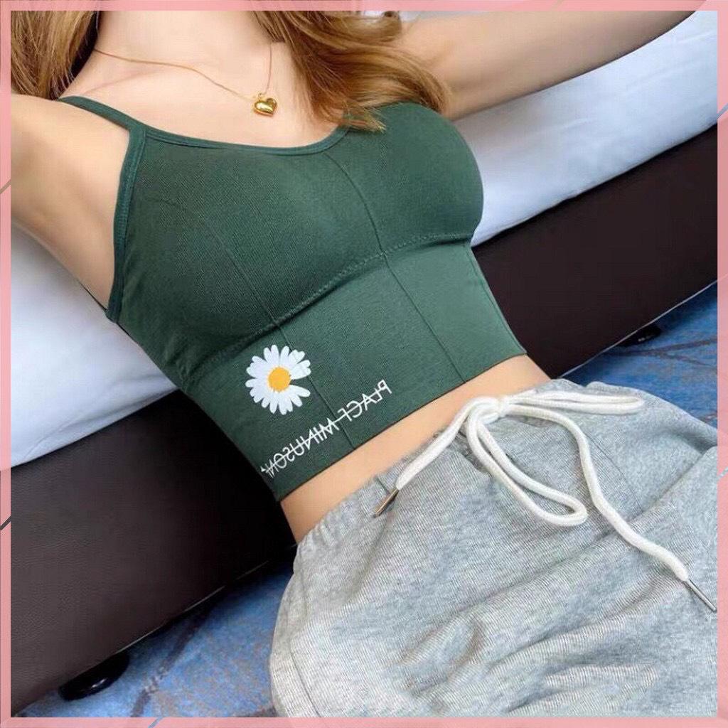 Áo Bra Tập Yoga, Gym Bo Gân Dáng Croptop Lưng Dài Họa Tiết Cúc Họa My P33 XANH LÝ