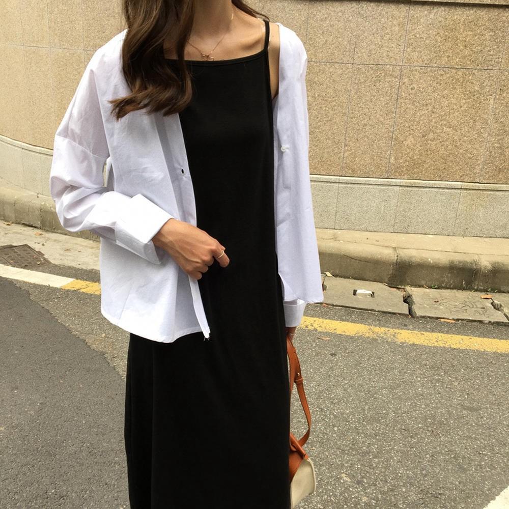 Đầm Suông Hai Dây Maxi Thời Trang Cổ Vuông ĐEN T57