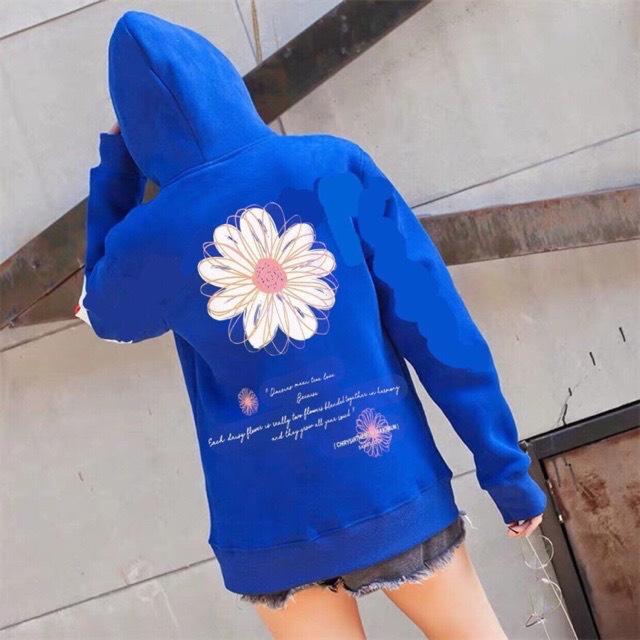 Áo khoác nỉ chui hoddie nam nữ in bông hoa sau lưng XANH BICH N49