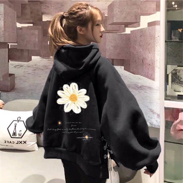 Áo khoác nỉ chui hoddie nam nữ in bông hoa sau lưng ĐEN N50