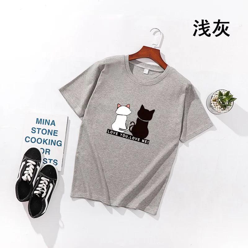 Áo Thun Nữ Con Mèo Ngỗi Cửa Sổ Dễ Thương Vải Đẹp XÁM D1264